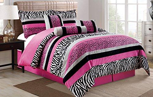 7 Piece Oversize HOT PINK Black White Zebra Leopard Micro Fur Comforter set Full Size Bedding - Teen, Girl, youth, Tween, Children's Room, Master Bedroom, Guest Room (Zebra Full Bedding compare prices)