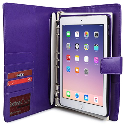 iPad Air 2 Case with Notepad, COOPER FOLDERTAB Business Travel Luxury PU Leather Carrying Portfolio Protective Case Cover with Paper Notebook & Card Pocket for Apple iPad Air 2 (Purple) (Ipad Air 2 Top Rated compare prices)