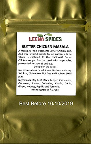 Butter Chicken Seasoning Mix - With Leena Spices Curry Masala Spice Recipe Dish - Essential For Kitchen - Packet Of 50g / 1.76 Ounce