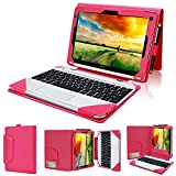 Evecase Acer Aspire Switch 10 SW5 Case (SW5-012 / SW5-011) , 2-in-1 Leather Keyboard Portfolio Stand Case Cover for Acer Aspire Switch 10 SW5 (SW5-012 / SW5-011) 10.1-Inch Full HD Touchscreen Laptop Tablet PC - Hot Pink