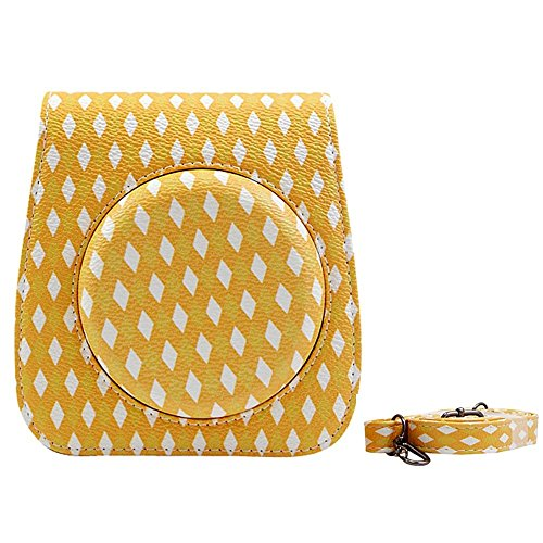 Katia Pu Cuir Instax Mini 70 Camera Bag Case for Fujiflim Instax Mini 70 avec bandoulière et Pocket - Lattice Jaune