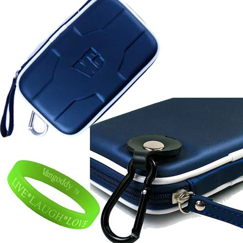 Rubberized Navy Metallic Computer Accessories Stylish Hard Cube Carrying Case WD Elements Portable Hard Drive Protective Cover + VanGoddy LIVE * LAUGH * LOVE Wristband