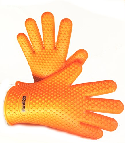 BBQ, Grilling & Oven Silicone Heat Resistant Cooking Gloves With FREE TONGS and BASTING BRUSH By Grippie-Premium Quality-Maximum Protection & Comfort-Lightweight & Dishwasher Safe-Blue&Orange (Clean Bbq Gloves Free Grilling compare prices)
