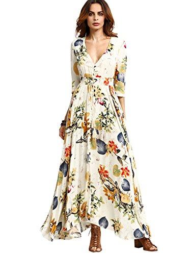 Milumia Women's Button Up Split Floral Print Flowy Party Maxi Dress Beige M