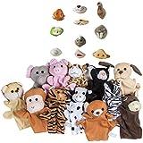 Maven Gifts: (1 Dozen) Preschool Kindergarten Velour Animal Finger Puppets Kids Toy With (3 Dozen) Animal Nose...