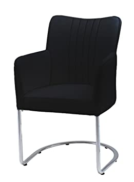 Plutus Leatherette Armchair with Half Moon Stainless Steel Legs, Black