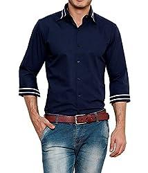 Dazzio Men's Slim Fit Cotton Casual Shirt (DZSH0907_Blue_40)