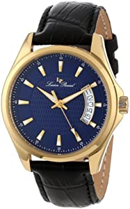 Lucien Piccard Men's 98660-YG-03 Excalibur Blue Textured Dial Black Leather Watch