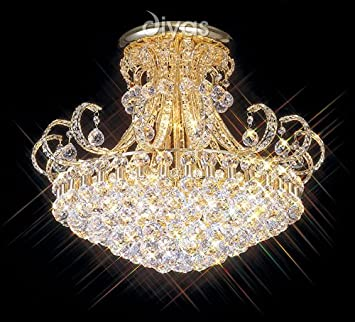 12 Light Crystal and Gold Semi Flush Chandelier - HP007974