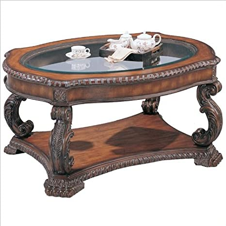 Brown antique finish wood coffee table with glass top insert
