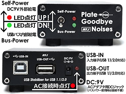 USBノイズフィルター機構付きUSBスタビライザー『NFJ PGN(Plate Goodbye Noises)』ケーブル&ACアダプターフルセット