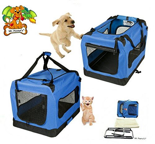 Mr. Peanut's® Deluxe Foldable Soft Sided Travel Pet Carrier * Available as 20″, 24″, 28″ and 32″ * Fleece Bedding Makes Your Pet Feel Comfy * Great Portable Dog House – (Medium 23.6″ x 16.5″ x 16.5″)