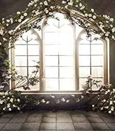 Happy Valentine\'s Day Flower Arch Indoor Wedding Photo Backdrop Vinyl Customize Size Photography Background Studio 6.5 Ft x 5 Ft (2M x 1.5M) BGCM-6560