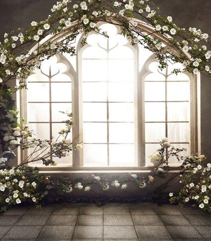 Happy Valentine's Day Flower Arch Indoor Wedding Photo Backdrop Vinyl Customize Size Photography Background Studio 6.5 Ft x 5 Ft (2M x 1.5M) BGCM-6560