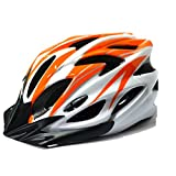 【AHKAH WORKS】男女兼用 軽量 自転車用 ヘルメット サングラス付 サイズ調整可 (オレンジ×ホワイト)