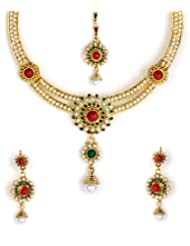 Shining Diva Red & Green Bead Necklace Set With Maang-Tika For Women