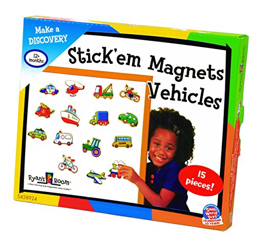 Small World Toys Ryan's Room Wooden Toys  -Stick Em Magnets - Vehicles