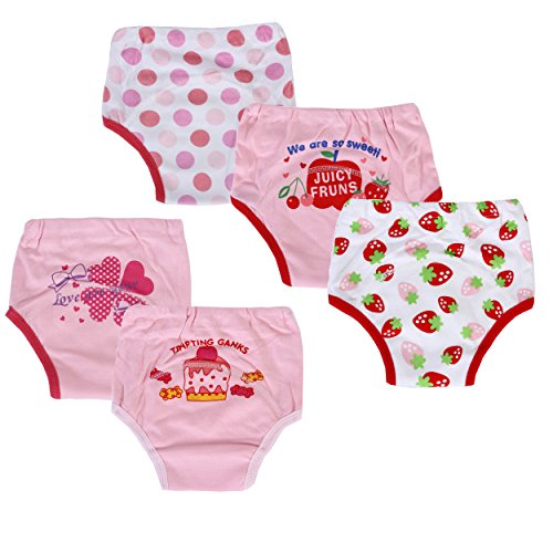Dimore Baby Toddler 5 Pack Cotton Training Pants Girl (S, Girl)