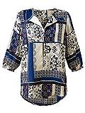 Marisota Oyster, Blue & Black Satin Ottoman Print Tunic Top Blouse Plus Size 12 to 26 (20)