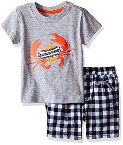 Little Me Baby Tee Short Set, Blue Check, 18 Months