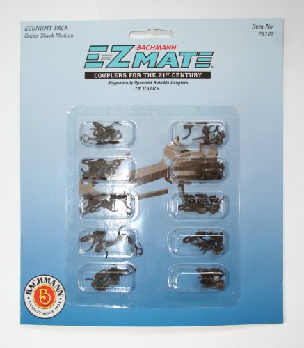 Bachmann Trains E - Z Mate Mark Ii Magnetic Knuckle Couplers With Metal Coil Spring - Economy Pack - Center Shank - Medium (25 Coupler Pairs Per Card) - Ho Scale front-1063512