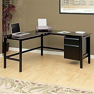 l shaped desk black black glass kitchen home. Black Bedroom Furniture Sets. Home Design Ideas