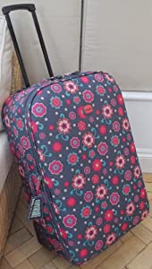 Medium 62 Lts Travel Luggage Suitcase On Wheels Floral Print Charcoal And Pink Expanding Trolly Light Weight