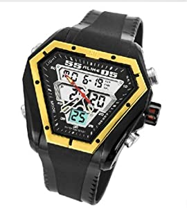 50m Water-proof Digital-analog Boys Girls Sport Digital Watch with Alarm Stopwatch Chronograph 1054-Golden