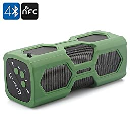 [Waterproof Sport Speaker] Captain Wireless Stereo Bluetooth Outdoor Speaker, Csr4.0 2*5W Dustproof Shockproof Bass Subwoofer Sound Speaker 2 in 1 Function with 3600mah Power Bank/ Mic / NFC Support, Green