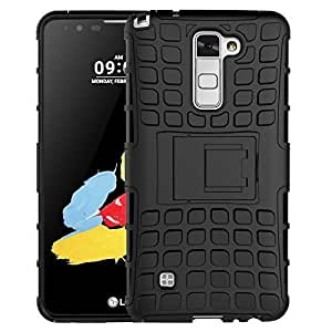 Plus Flip Kick Stand Spider Hard Dual Rugged Armor Hybrid Bumper Back Case Cover For LG Stylus 2 - Rugged Black