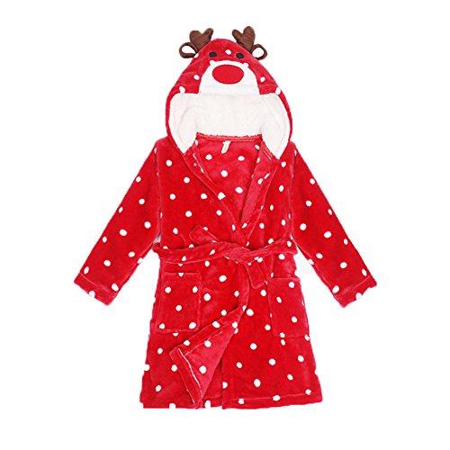 Bathrobe Kids Flannel Sleepwear Xmas Red Cartoon Dot Children's Pajamas for Girls,red xmas deer,3t(2-3 years)