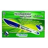 Ticonderoga White System Dry Erase Markers, Fine Tip, Blue, One Dozen (93008)