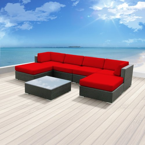 Luxxella Patio Mallina Outdoor Wicker Furniture 7-Piece All Weather Couch Sofa Set, Red image