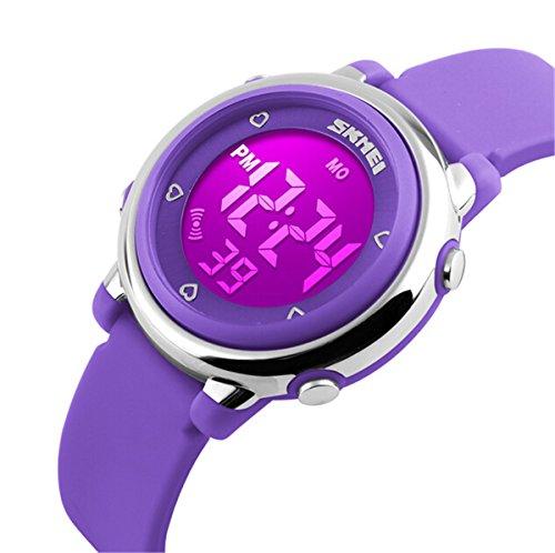 SKNBC® Children Watch Outdoor Sports Kids Boy Girls LED Digital Alarm Stopwatch 50m Waterproof Wristwatch Children's Dress Watches purple