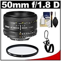 Nikon 50mm F/1.8D AF Nikkor Lens + UV Filter + Accessory Kit for D3100, D3200, D3300, D5100, D5200, D5300, D7000, D7100, D610, D800, D4 DSLR Cameras