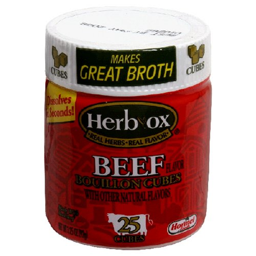 Herbox Beef Boullion Cube, 25-Cube Canister (Pack of 6)