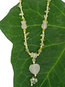 Rose Quartz Oval Heart Dangling Necklace with Enchanting Multiple Brilliant Color Jade Beads and Gemstones Made with White Cord