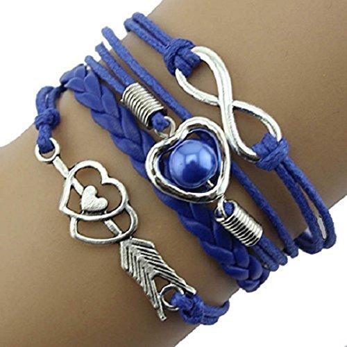 Doinshop Infinity Love Heart Pearl Friendship Antique Leather Charm Bracelet (blue)