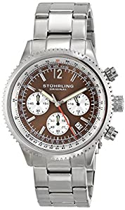 Stuhrling Original Monaco Men's Quartz Watch with Brown Dial Analogue Display and Silver Stainless Steel Bracelet 669B.03