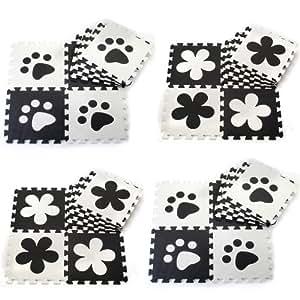 J&Y Black & White World 12pcs Soft Puzzle Mats Rugs Flooring Mats for Kids Soft Foam Play Mat Jigsaw Pop-Out Mats