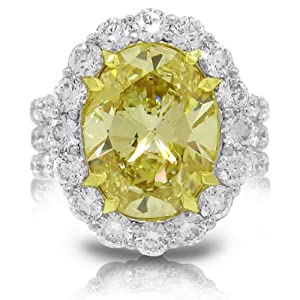 11.60ct 18k Two-tone Gold GIA Certified Oval Shape Natural Fancy Yellow Diamond Ring