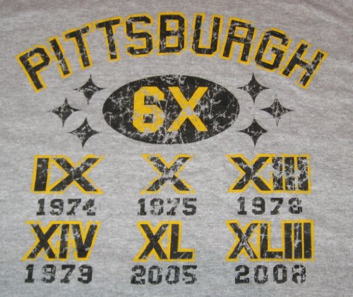 Xl Pittsburgh Football Faded Grey Six Times Champions T Shirt