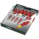 Wera Kraftform Comfort VDE Screwdriver 7 Piece Set 5 Slot 2 Pozi WER031576by Wera