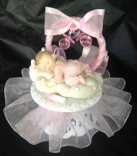 Baby Girl On A Cloud Christening Baby Shower Cake Top Decoration Centerpiece front-945625