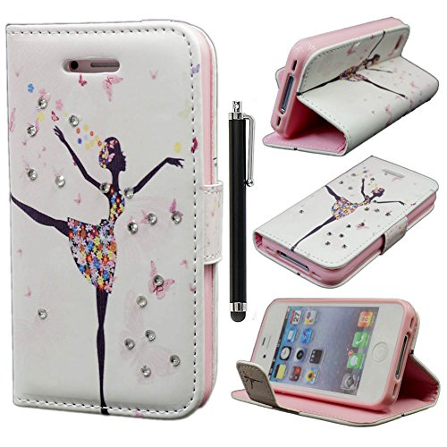 iPhone 4S Case,iPhone 4 Case,iPhone 4S Cover, Qbily Fairy Girls Pattern Pink PU Leather Cases Cover Glitter Bling Diamond Decoration Shell with Magnetic Closure Credit Card Slot Pouch Stand Protective Case for Apple iPhone 4/4S with Anti-glare Clear Display Screen Protector Film and Black Stylus Pen (Dancing Girls)