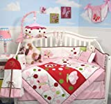 SoHo Chasing Butterflies Baby Girl Crib Nursery Bedding Set 10 Pcs **Reversible Into Morden Pink & Brown Polka Dot Designs !**