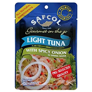 Safcol Gourmet On The Go Chunk Light Tuna With Spicy Onion In Spring Water 35-ounce Pouches Pack Of 12 by SAFCOL