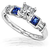 Blue Sapphire & Diamond Engagement Ring 1 1/5 Carat (ctw) In 14k White Gold
