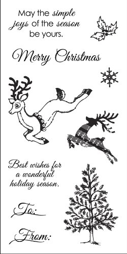 Fiskars 102860-1001 Clear Rubber Stamp, Holiday Frolic, 3 by 6-Inch