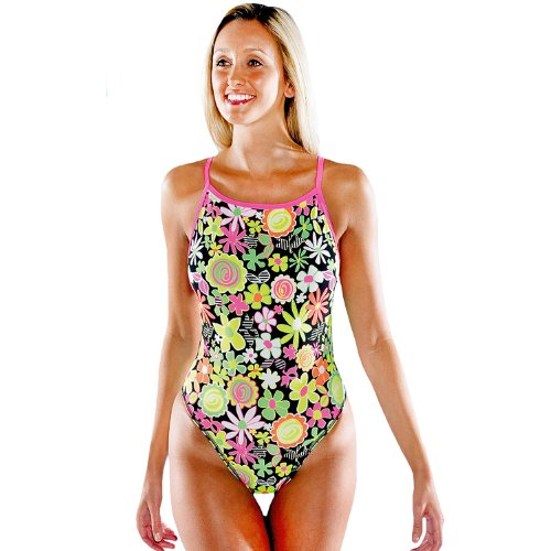 Maru Womens Pop Splish Back High Leg Floral Swimming Costume